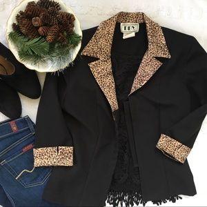 Vintage Cheetah Trim Black Blazer Jacket